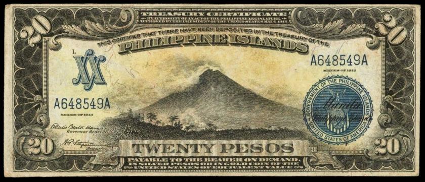 1918-20-pesos-treasury-certificate-mayon-volcano